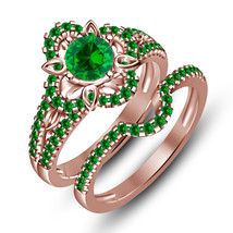 14k Rose Gold Finish 925 Sterling Silver Womens Green Sapphire Bridal Ri... - $92.99