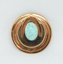 Blue Speckled Art Glass Cabochon Copper Modernist Brooch - $19.79