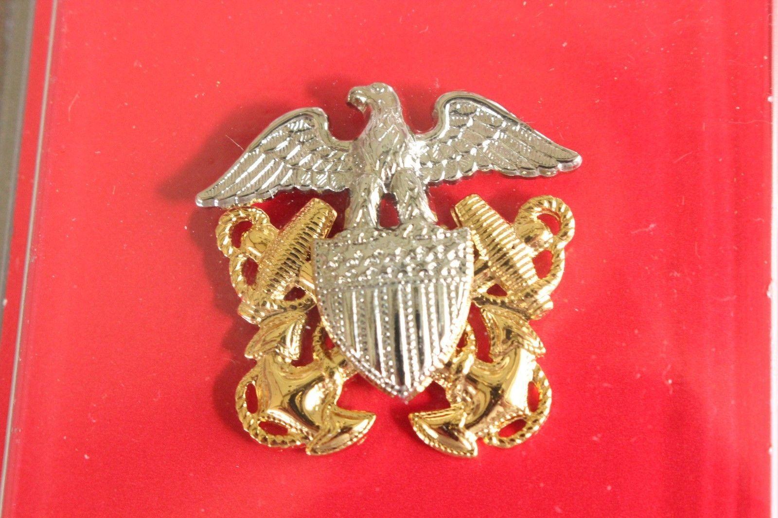 USN US NAVY O-7 RDML RANK OFFICER GARRISON CAP BADGE & DEVICE REDUCED SIZE MINI