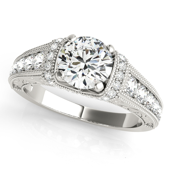 14k White Gold Plated 925 Silver Round Cut CZ Women's Bridal Engagement Ring Set