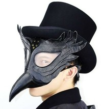 Steampunk Men Mask Black Leather Plague Doctor Bird Long Nose Halloween ... - £23.15 GBP