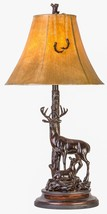 Grand Buck Doe Table Lamp Wildlife Hunting Deer Rustic Cabin Lodge Decor  - $127.90