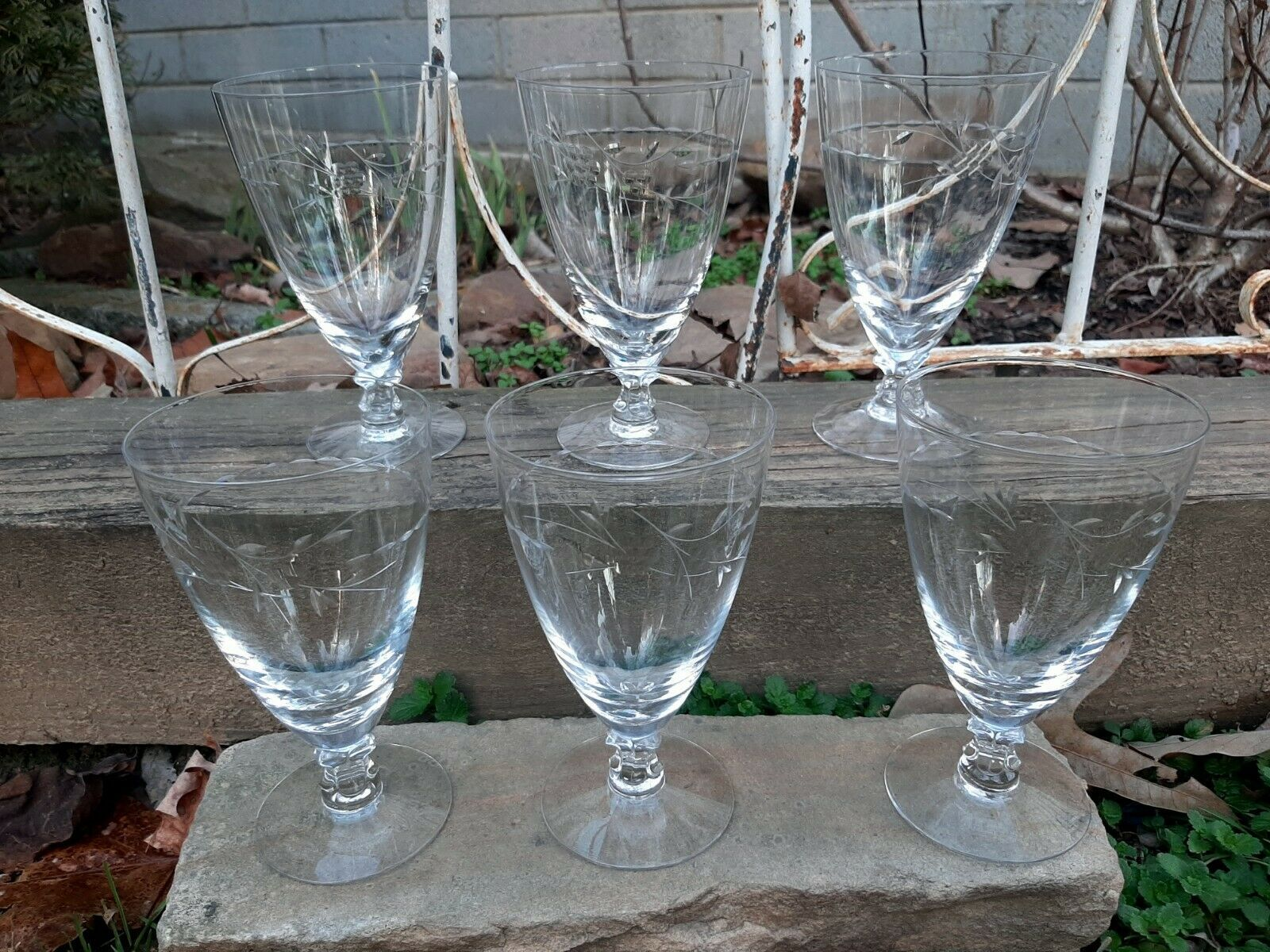 "Primary image for 6 Vintage Fostoria Nosegay 6 1/8"" Footed Iced Tea Cut Crystal Goblet Signed"