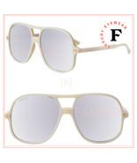 GUCCI 0706 Ivory Silver Mirrored Oversized Unisex Retro Sunglasses GG070... - $274.73