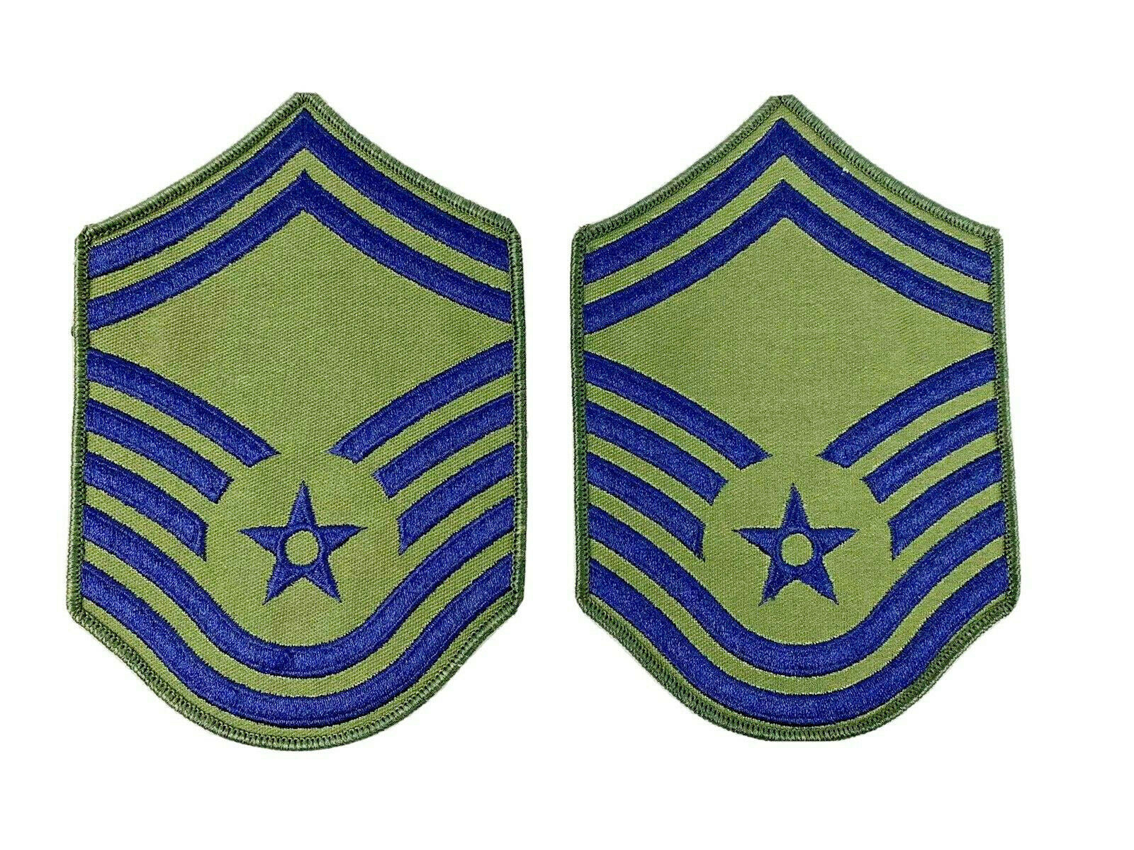 Primary image for US Air Force Chief Master SGT Rank Patch Insignia BLUE GREEN USAF Subdued