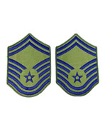 US Air Force Chief Master SGT Rank Patch Insignia BLUE GREEN USAF Subdued  - $4.95