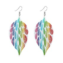 Leaf Drop Earrings Hanging Long Statement Female Earrings Multicolor - $25.99