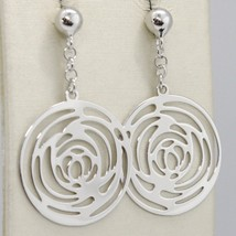 SOLID 18K WHITE GOLD PENDANT EARRINGS, FLOWER ROSE WORKED DISC, MADE IN ITALY image 1