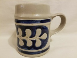 Williamsburg Pottery Salt Glaze Mug Tankard Cobalt Blue Gray Oak Leaf MINT - $14.84