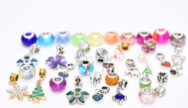 15 Assorted Pandora Inspired charms Bracelet Necklace Crystal Glass Beads Set - $9.79