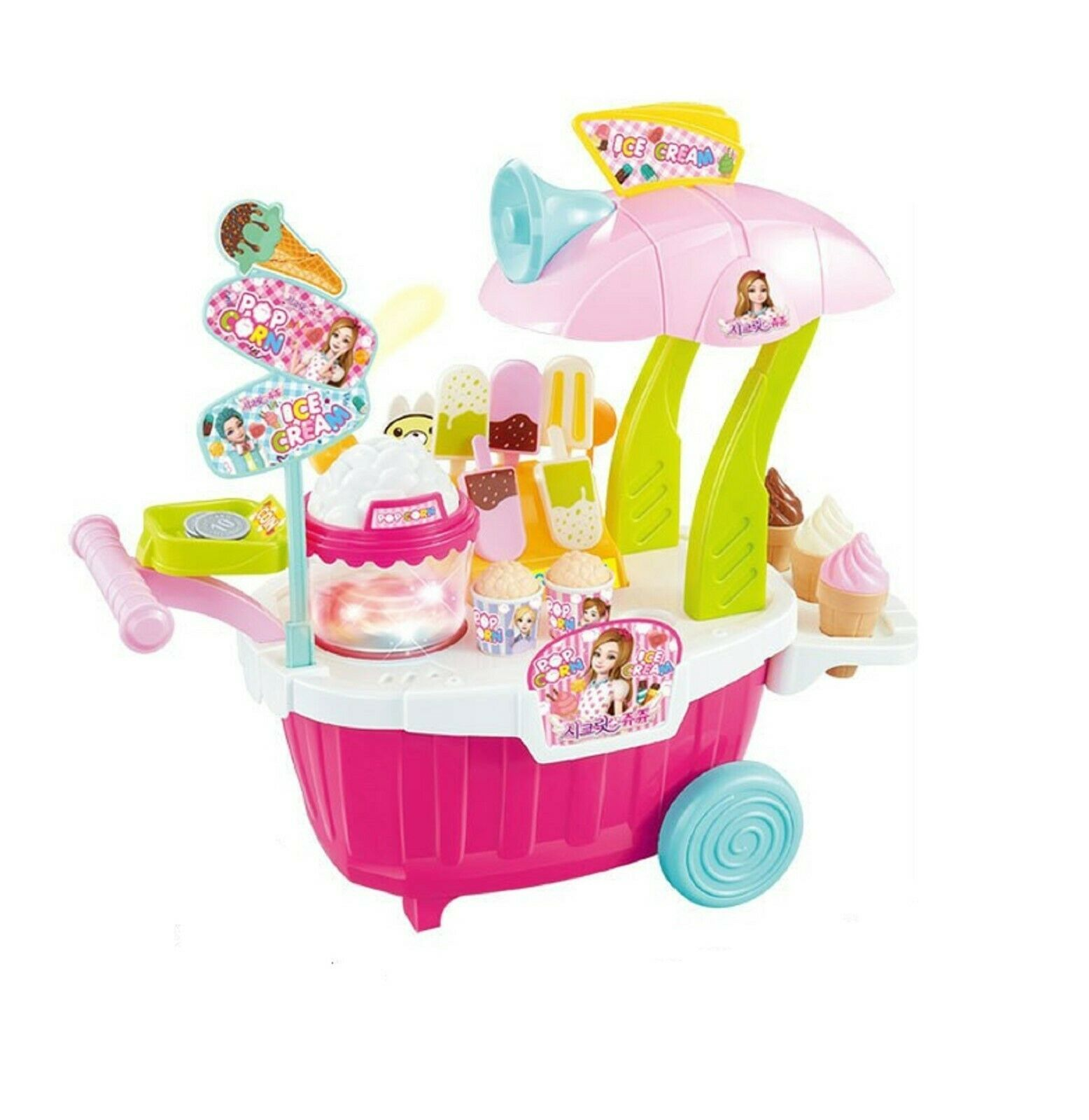 Melody Lights Popcorn Ice Cream Stall Popup Store Shop Sales Role Play Toy
