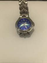 MEN'S FOSSIL BLUE WATCH SILVER AM-3586 STAINLESS STEEL BRANDNEW BATTERY. - $18.49