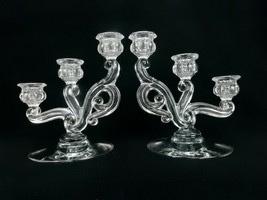 Pair of Vintage Heisey Crystal 3-Light Candle Holders, Cascade Pattern #142 - $48.95