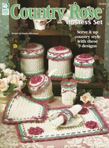 Country Rose Hostess Set ~ Crochet OOP Canister NEW Pot Holder Pattern B... - $4.90