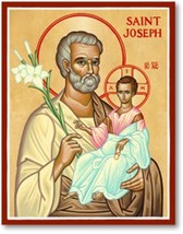 """St. Joseph Icon 8"""" x 10"""" Wooden Plaques With Lumina Gold"""