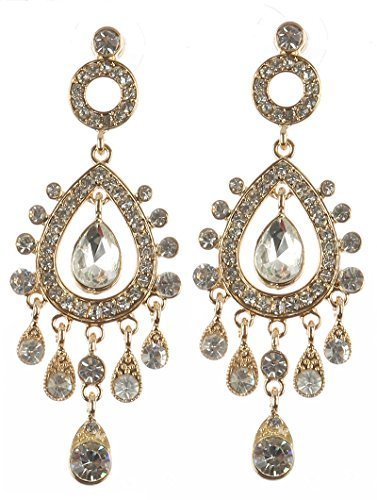 Chandelier Glass Stone Dangle Earrings (Clear)