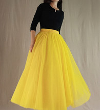 A Line Long Tulle Skirt High Waisted Red Long Tulle Skirt Puffy Tutu Pockets image 11