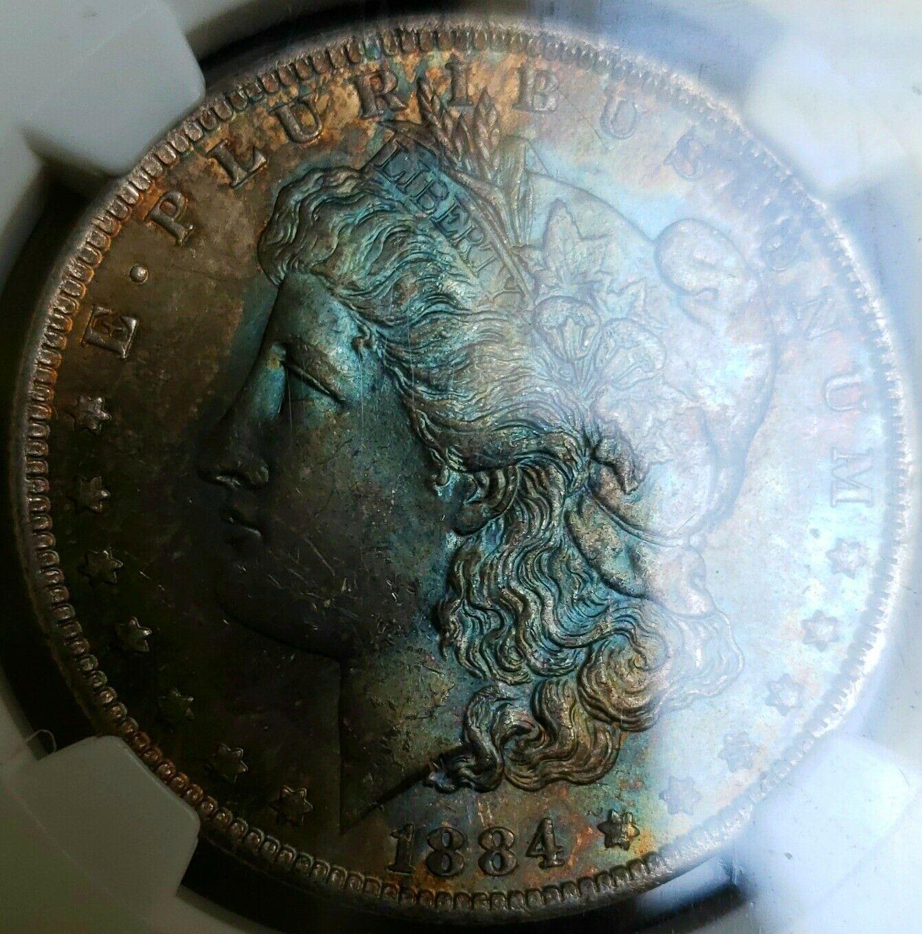 ~☆RAINBOW☆~ 1884-O MS-63 Morgan Silver Dollar NGC GORGEOUS COIN! AQUA BLUES