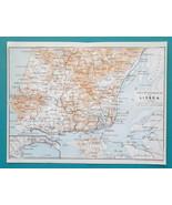 "PORTUGAL Lisbon & Environs - 1913 Baedeker Map 6 x 8"" (15 x 20 cm) - $13.05"