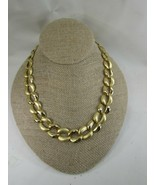 Vintage Gold Tone Flat Link Necklace 52555 Goldtone - $15.83
