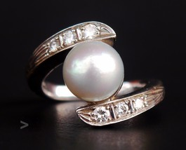 Antique Danish Art Deco Ring solid 14K W.Gold Mabe Pearl Diamonds Ø 6.5... - $660.82