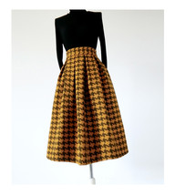 Women Black Houndstooth Skirt Winter Houndstooth Pleated Skirt Wool Party Skirt image 5