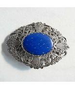 Vintage Art Deco Brooch Lapis Marcasite Sterling Silver 925 30's  - $54.44
