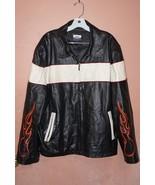Vintage Basic Concept Leather Motorcycle Style Jacket XL Black White Fla... - £58.28 GBP