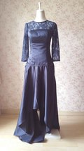Navy Lace Long Sleeve Mermaid Dress Navy Mother of the bride Dress Wedding Dress image 6