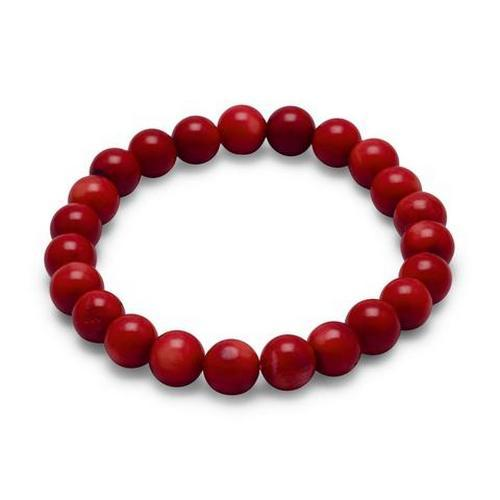 Red Coral Bead Stretch Bracelet Fine Fashion Womens Jewelry Gift Item