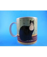 Warren Kimble Cat Mug Black & White Cat on Rug Sakura Cup NICE! - $9.89