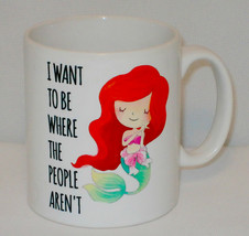 Want To Be Where People Aren't Mermaid Mug Can Personalise Funny Little... - $11.41