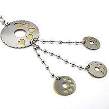 Collier Argent 925, Chaîne Billes, Fleur, Cœurs, Disques Pendentifs, Bicolore image 3