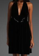 ce422539f1337 Juicy Couture Berry Noir Halter Velour Velvet Bow Rhinestone Dress M $348 -  $159.97