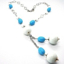 Necklace Silver 925, Spheres Agate White Faceted, Turquoise Oval, Pendant image 1