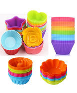 12 Pcs Soft Silicone Cake Muffin Chocolate Cupcake Bakeware Baking Mold ... - £6.63 GBP