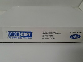 New Docucopy Straight Collated 1/5th Cut 90lb Trilar Coated Copier Tabs image 2