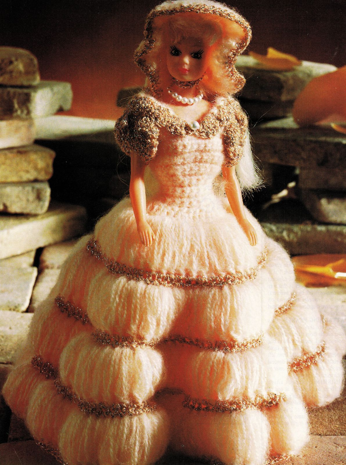 Barbie Clothes English Princess Lucy Dress Hat Bag Bracelet CROCHET Pattern image 2