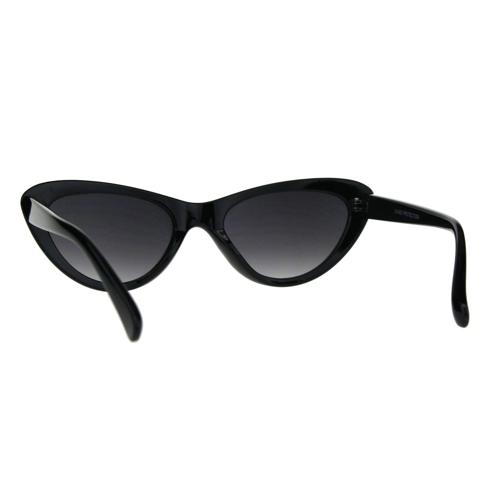 Womens Vintage Goth Narrow Cat Eye Plastic Sunglasses
