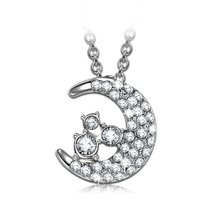 """Luna"" Star Moon Design Necklace, Women Pendant with Swarovski Crystal. ... - £45.57 GBP"