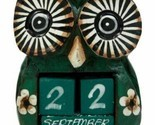 "Balinese Wood Handicrafts Hypnosis Eyed Green Owl Desktop Calendar Figurine 4.5"""