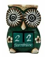 Balinese Wood Handicrafts Hypnosis Eyed Green Owl Desktop Calendar Figur... - $18.99