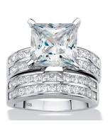 5.15 TCW Princess Cubic Zirconia Platinum over Silver 2-Piece Wedding Ri... - $169.99