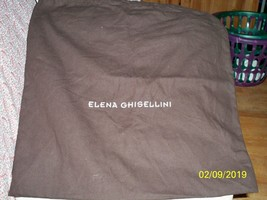 AUTHENTIC Elena Ghisellini 20 x 20  Cotton Dust Bag Brown  with white Lo... - $19.79