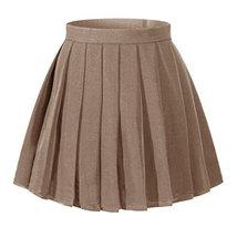 Girl`s Pleated Short School Uniform skirt Fancy up Costumes Skirts (S,Dark Brown - $21.77