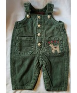 Vintage Baby Gap Green Corduroy Overalls Puppy Dog Embroidery 3-6 mos Boy - $19.78