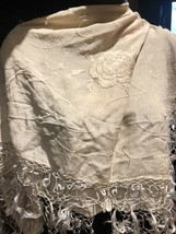 Vintage Ivory Silk Embroidered Pianno Shawl Square - $27.72