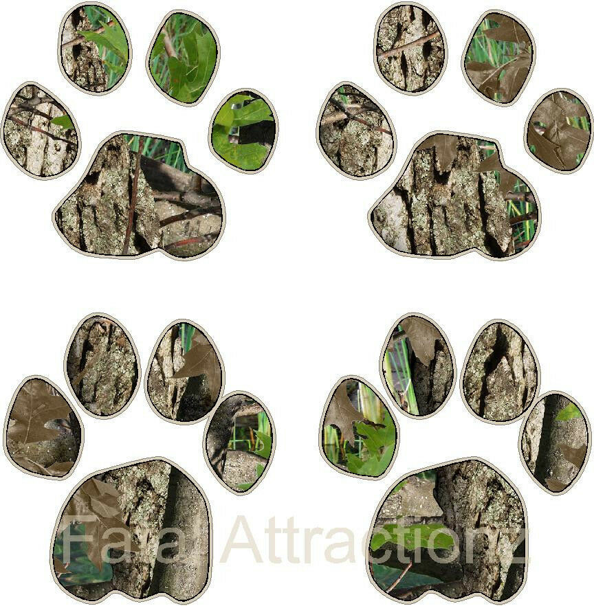 Tan Camo Cougar Print Vinyl Sticker Decal hunting paw tracks mountain lion cat