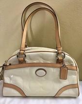 Coach F20065 Ivory/Tan Logo Patent Leather Satchel Bag - $69.78