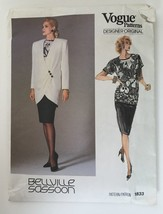 80's Vogue Bellville Sassoon Pattern 1833 Jacket Blouse Skirt Top Size 1... - $10.62